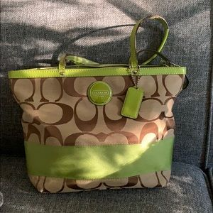Coach lime green and brown shoulder tote